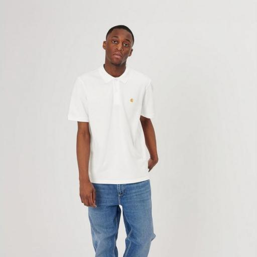CARHARTT Polo S/S Chase Pique Polo White Gold