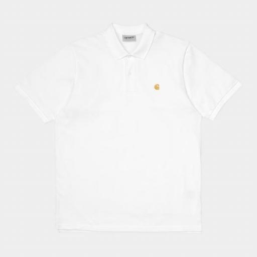 CARHARTT Polo S/S Chase Pique Polo White Gold [3]