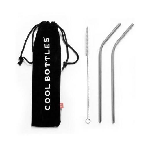 COOL BOTTLES Pack 2 pajitas para botellas y vasos térmicos Acero