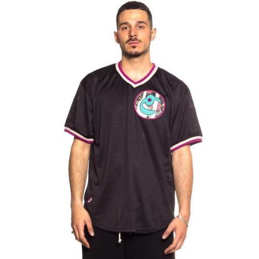 GRIMEY Camiseta Hope Unseen V Neck Mesh Tee Black