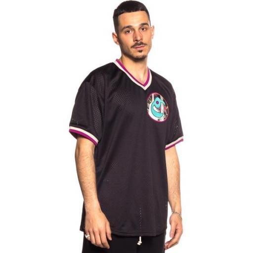 GRIMEY Camiseta Hope Unseen V Neck Mesh Tee Black [3]
