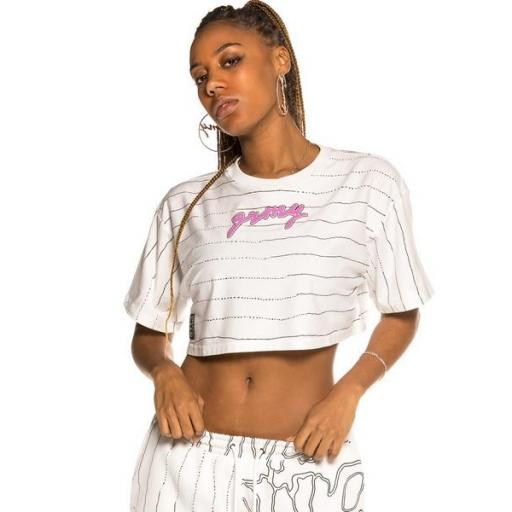 GRIMEY Crop Top Strange Fruit All Over Print G White
