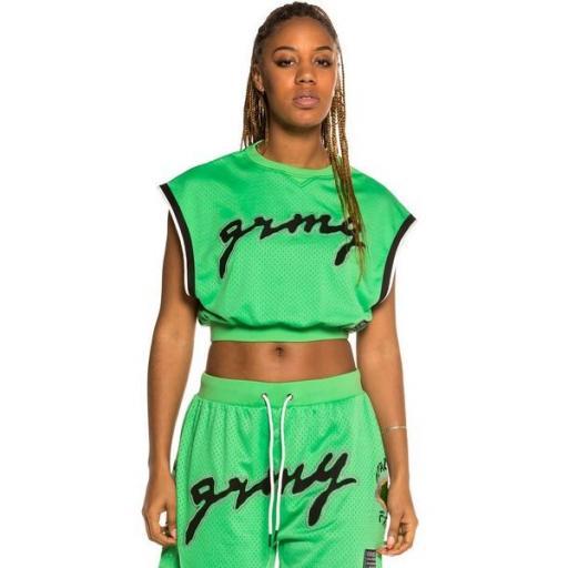 GRIMEY Top Strange Fruit Girl Mesh Tank T Green