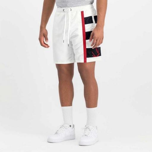 KARL KANI Bañador KK Signature Block Shorts White [1]