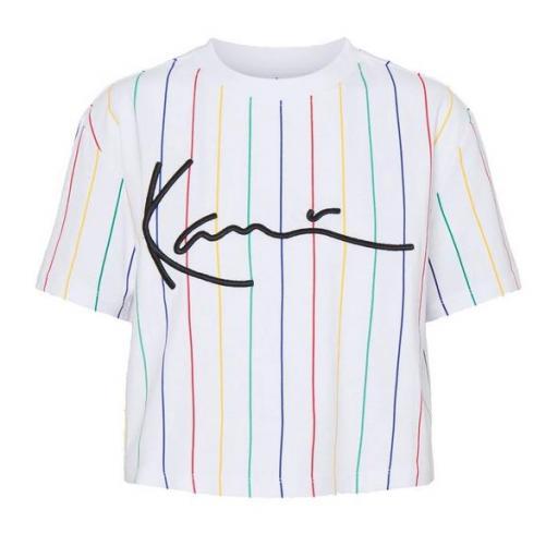 KARL KANI Camiseta KK Signature Pinstripe Tee White