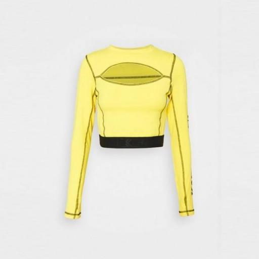 KARL KANI Camiseta Retro Cutout Cropped Tape Longsleeve Yellow [1]