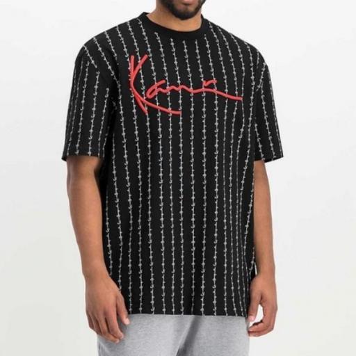 KARL KANI Camiseta Signature Logo Pinstripe Tee Black