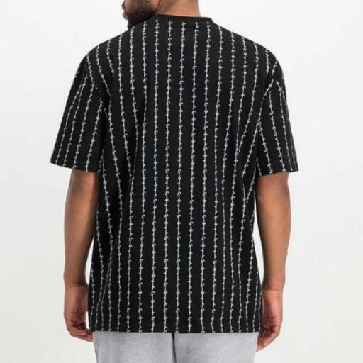 KARL KANI Camiseta Signature Logo Pinstripe Tee Black [1]