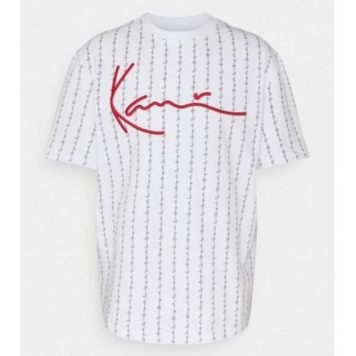 KARL KANI Camiseta Signature Logo Pinstripe Tee White [2]