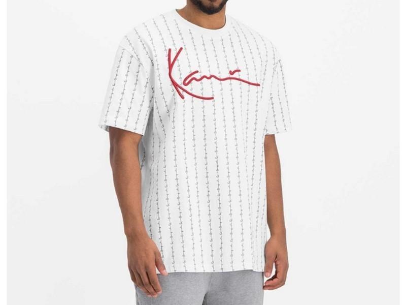 KARL KANI Camiseta Signature Logo Pinstripe Tee White