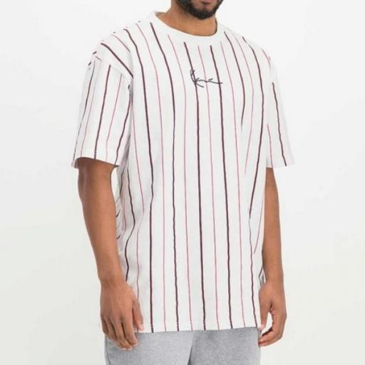 KARL KANI Camiseta Small Signature Pinstripe Tee White