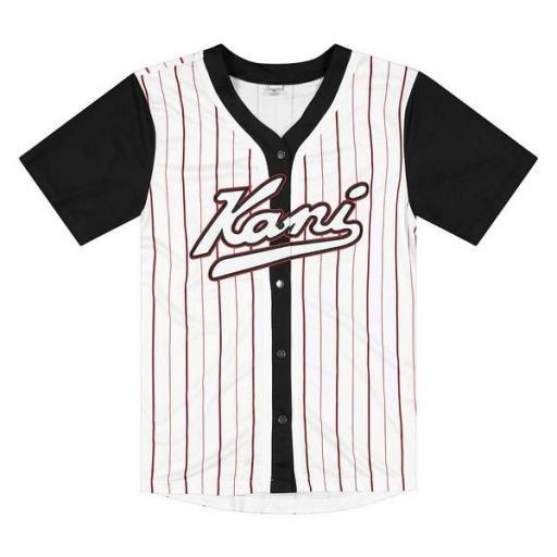KARL KANI Camiseta Varsity Block Pinstripe Baseball Shirt Black [1]