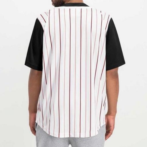 KARL KANI Camiseta Varsity Block Pinstripe Baseball Shirt Black [2]