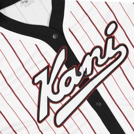 KARL KANI Camiseta Varsity Block Pinstripe Baseball Shirt Black [3]