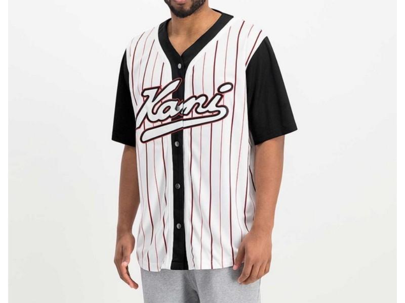 KARL KANI Camiseta Varsity Block Pinstripe Baseball Shirt Black