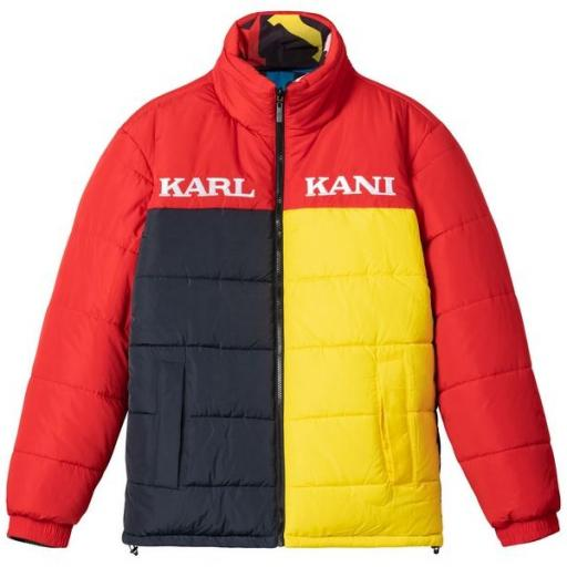 KARL KANI Chaqueta Retro Reversible Block Puffer Jacket Red Yellow Navy [2]