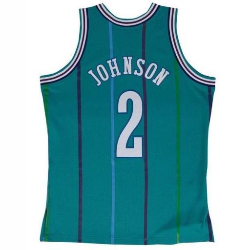MITCHELL AND NESS Camiseta NBA Swingman Jersey Larry Johnson Charlotte Hornets Teal [1]