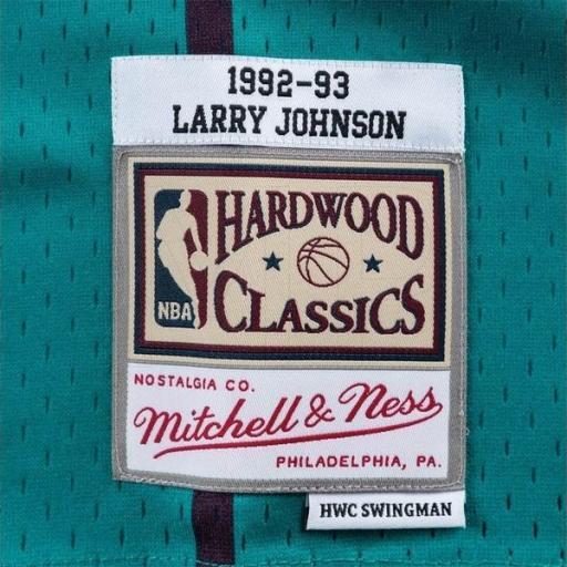 MITCHELL AND NESS Camiseta NBA Swingman Jersey Larry Johnson Charlotte Hornets Teal [2]