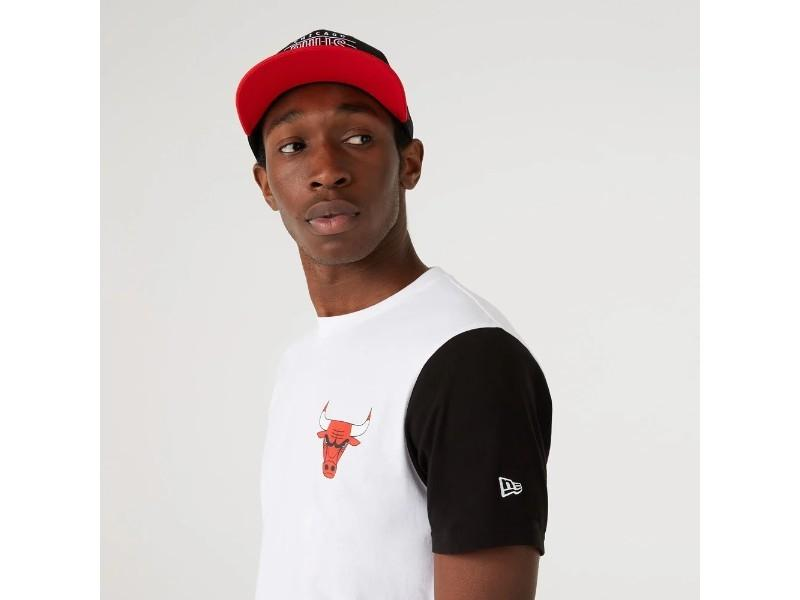 NEW ERA Camiseta NBA Color Block Sleeve Tee Chicago Bulls White