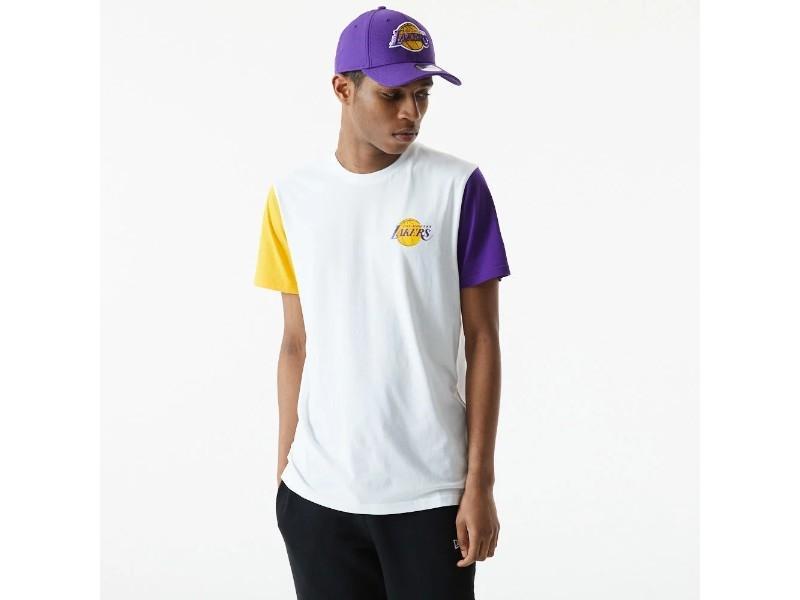 NEW ERA Camiseta NBA Color Block Sleeve Tee Los Ángeles Lakers White