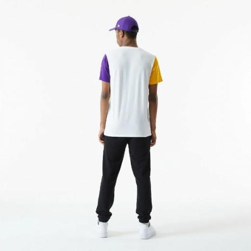 NEW ERA Camiseta NBA Color Block Sleeve Tee Los Ángeles Lakers White [2]
