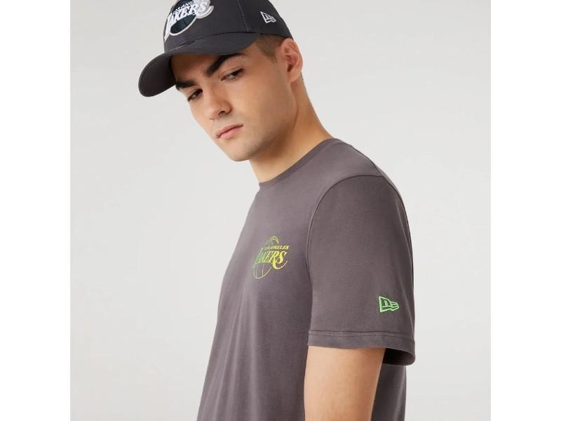 NEW ERA Camiseta NBA Fade Logo Tee Los Ángeles Lakers Grey