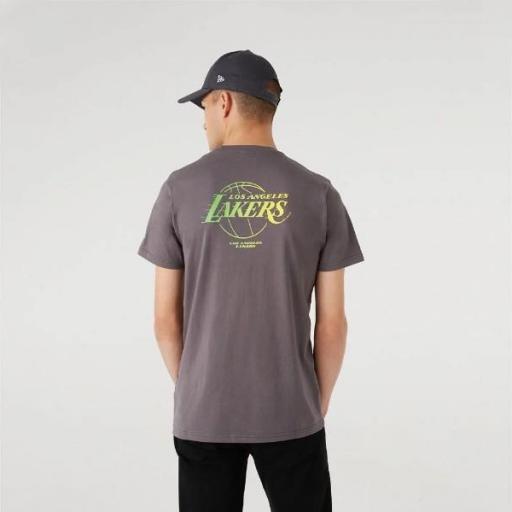 NEW ERA Camiseta NBA Fade Logo Tee Los Ángeles Lakers Grey [2]