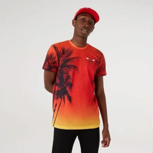 NEW ERA Camiseta NBA Summer City AOP Tee Chicago Bulls Red Print