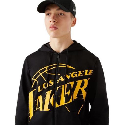 NEW ERA Sudadera NBA LA Lakers Logo Zip Up Hoodie Black [1]