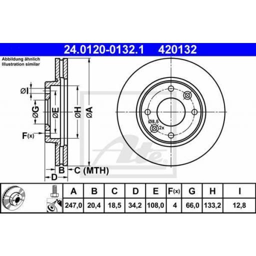 Juego de 2 discos de freno ATE :420132 [0]