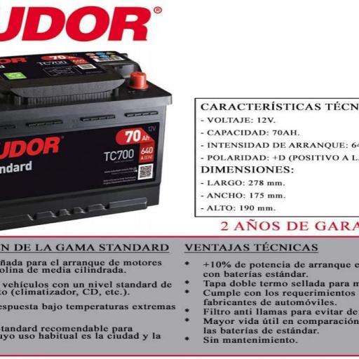 BATERIA TUDOR STANDARD 70AH L03 +D