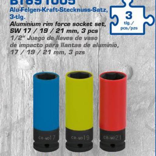 """1/2"""" Juego de llaves de vaso de impacto para llantas de<br>aluminio, 17 / 19 / 21 mm, 3 pzs"""