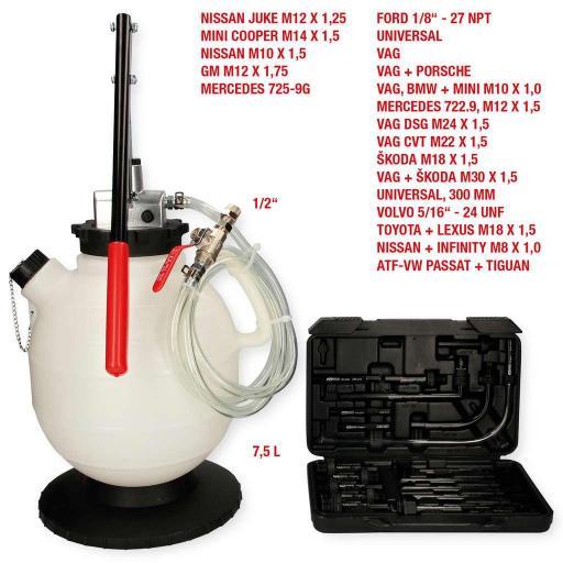 Sistema de llenado de aceite de la caja de cambios con juego de adaptadores de 20 uds.