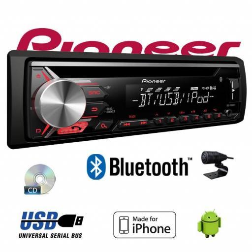 PIONEER Autorradio CD / USB / BT PIONEER DEH-3900BT Radio CD con sintonizador RDS, Bluetooth, entrada auxiliar y USB. Soporta control directo de iPod/iPhone