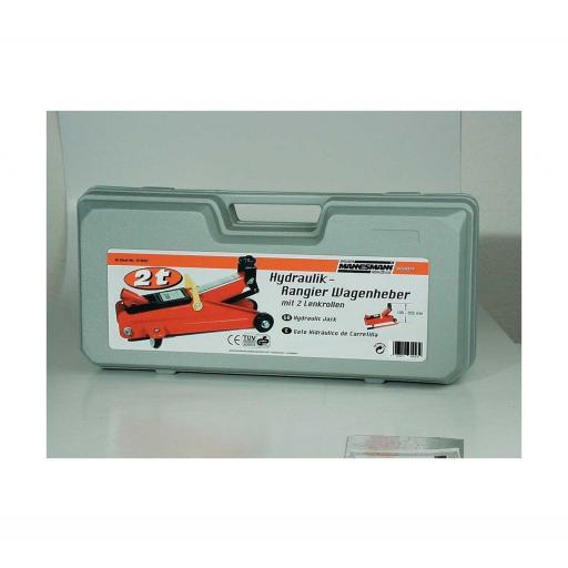 Mannesmann - M01800 - Gato hidráulico de 2 t, móvil, en maletín de plástico