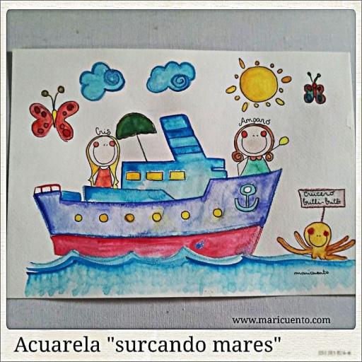 """Lámina A4 """"Surcando mares""""."""