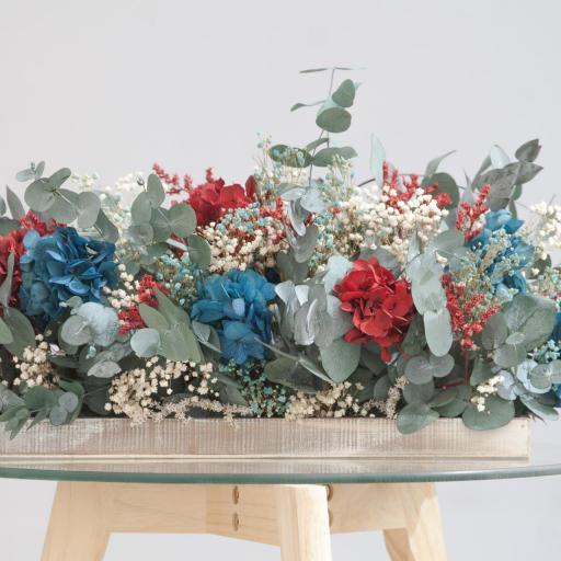 Barák de hortensias | rojo y azul