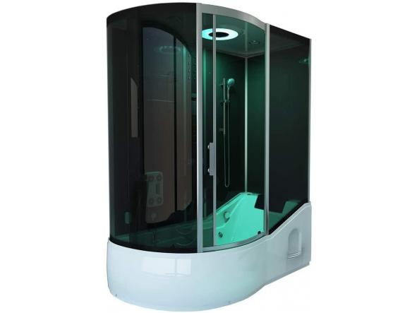 Cabina ducha - Todo EN 4in1 negro Izquierdo - dimensiones: 170 x 90 x 220 cm - incluye sauna de vapor y accesorios completos