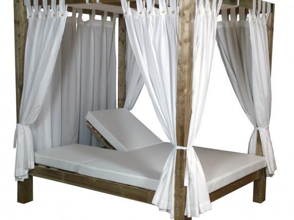 Cama Balinesa Madera Tratada Reclinable