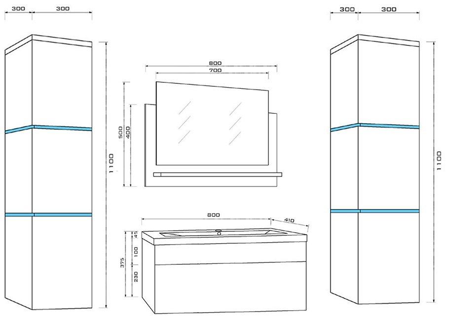 Plano Dimensiones Mueble Baño Wangerouge BIG XL