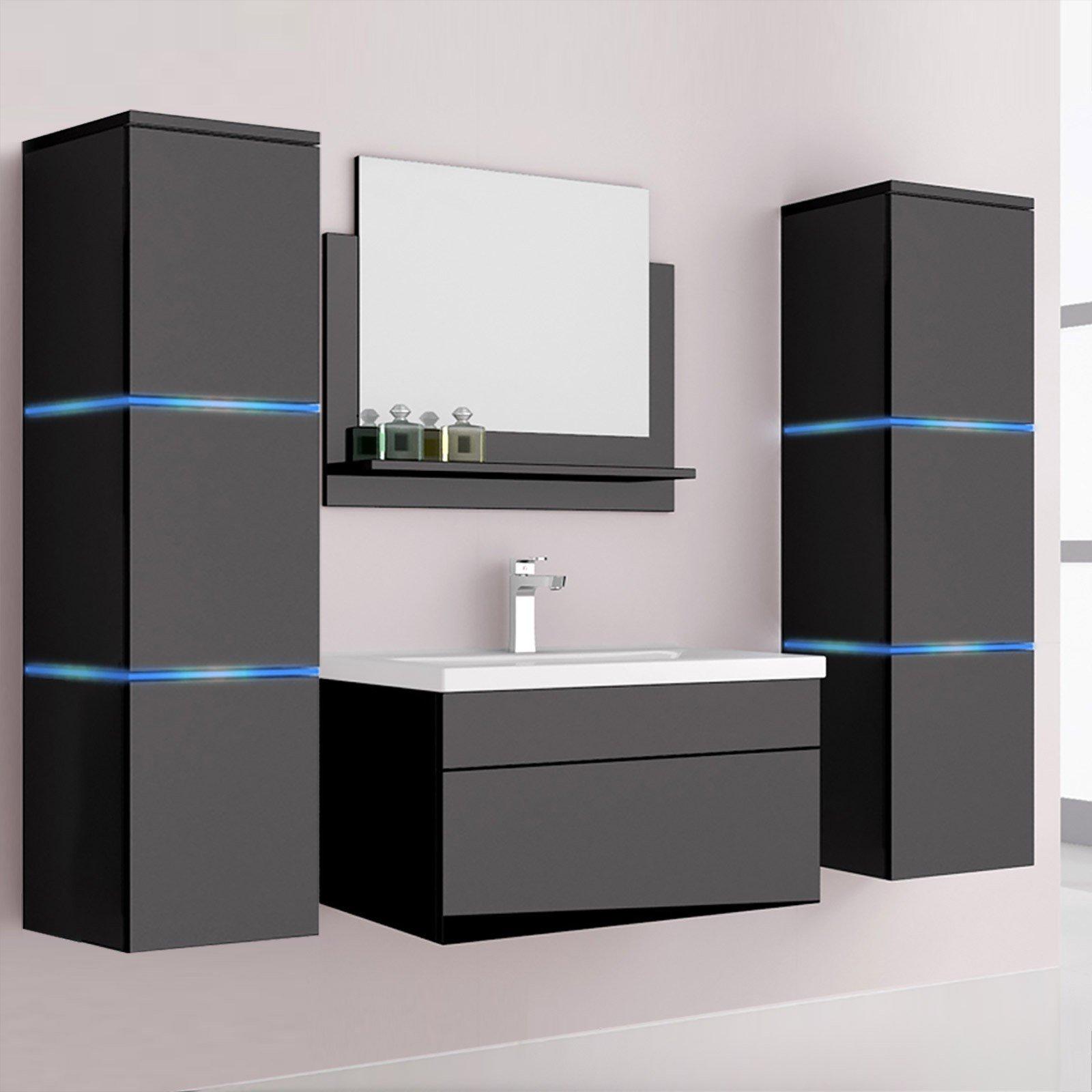 Mueble Baño Wangerouge XL-Negro Luces Led