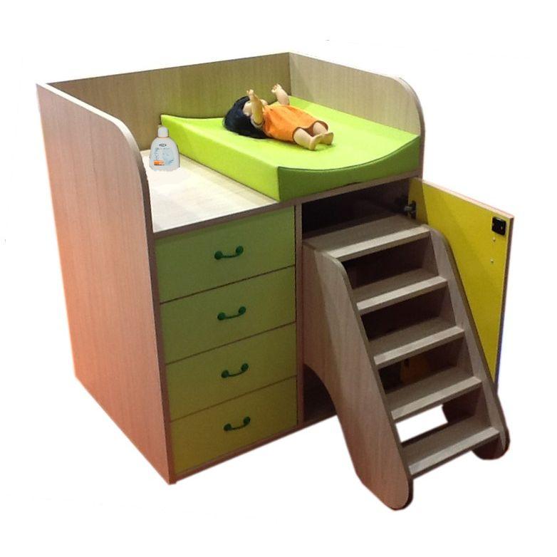 Mueble Cambiador con Escalera Giratoria y Cajones