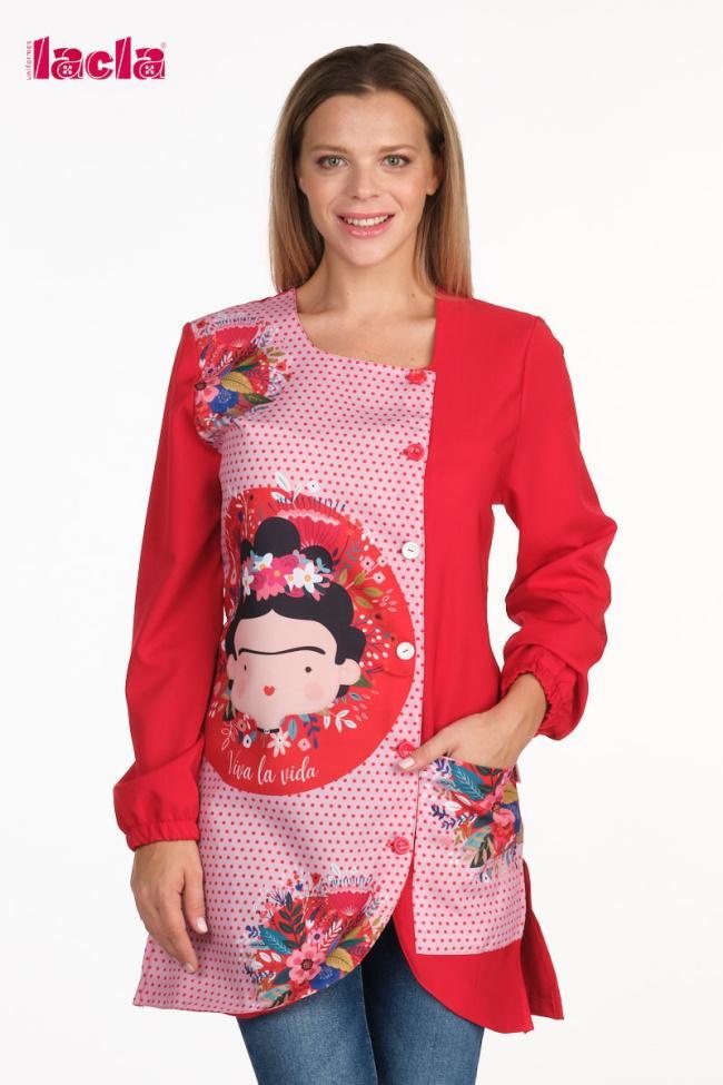 Bata Profesora Frida Kahlo rojo