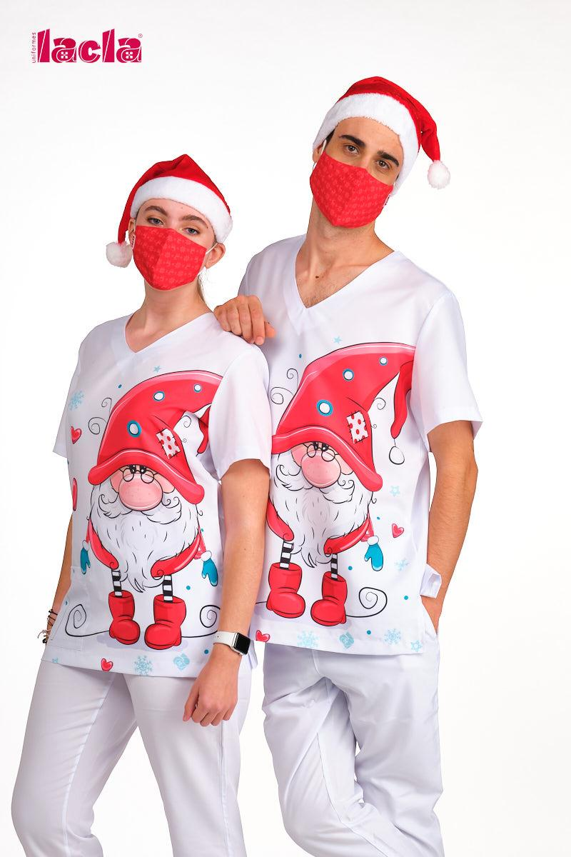 """Casaca Sanidad Unisex """"Gnomo Navidad"""""""