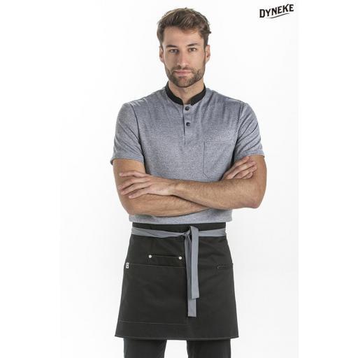 Delantal corto negro bolsillos