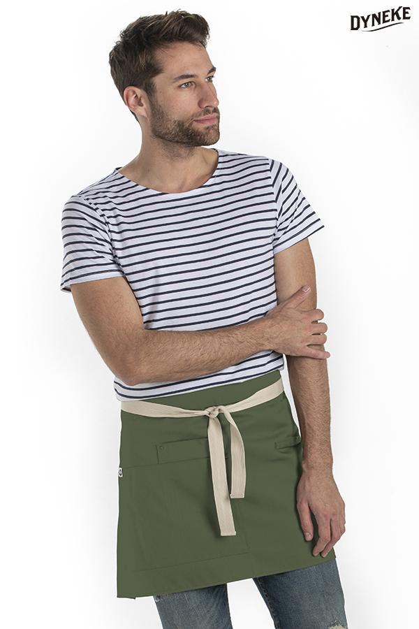 Delantal corto verde bolsillos