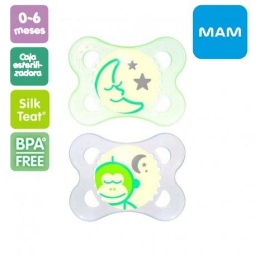 MAM 2 chupetes luminosos 0-6m (colores)
