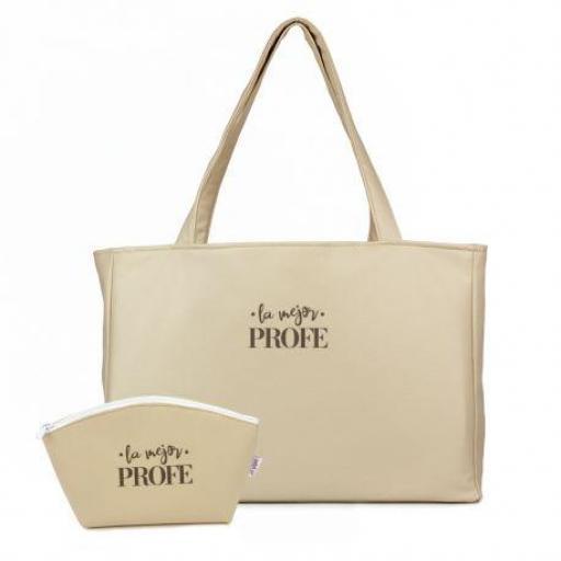Pack Bolso shopper + Neceser polipiel La Mejor Profe