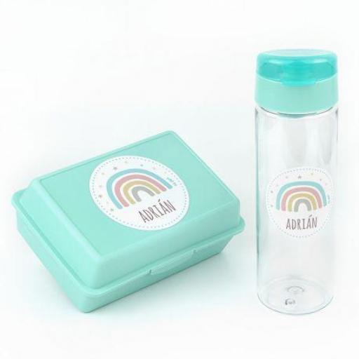 Pack botella y cajita porta alimentos Arcoiris Menta soft