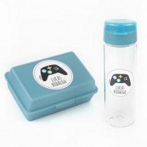 Pack botella y cajita porta alimentos Consola Azul